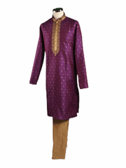 Mens Purple Benarasi Brocade Kurta set -VL1903VJ 1119
