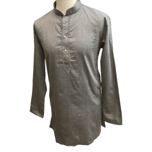 Mens Indian Dhoti Kurta Top in Grey, Thigh Length, for weddings, Bollywood Party  - Chevy Cp1219 - Prachy Creations