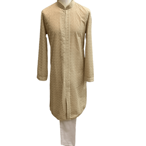 Mens Indian Kurta set in Light Brown, for weddings, Bollywood Party ( with Draw stringed trousers) - Farari KR1219