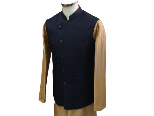 Navy Blue Jute Cotton Indian waistcoat for Men - Mix N Match with Kurtas - YD2004 kv