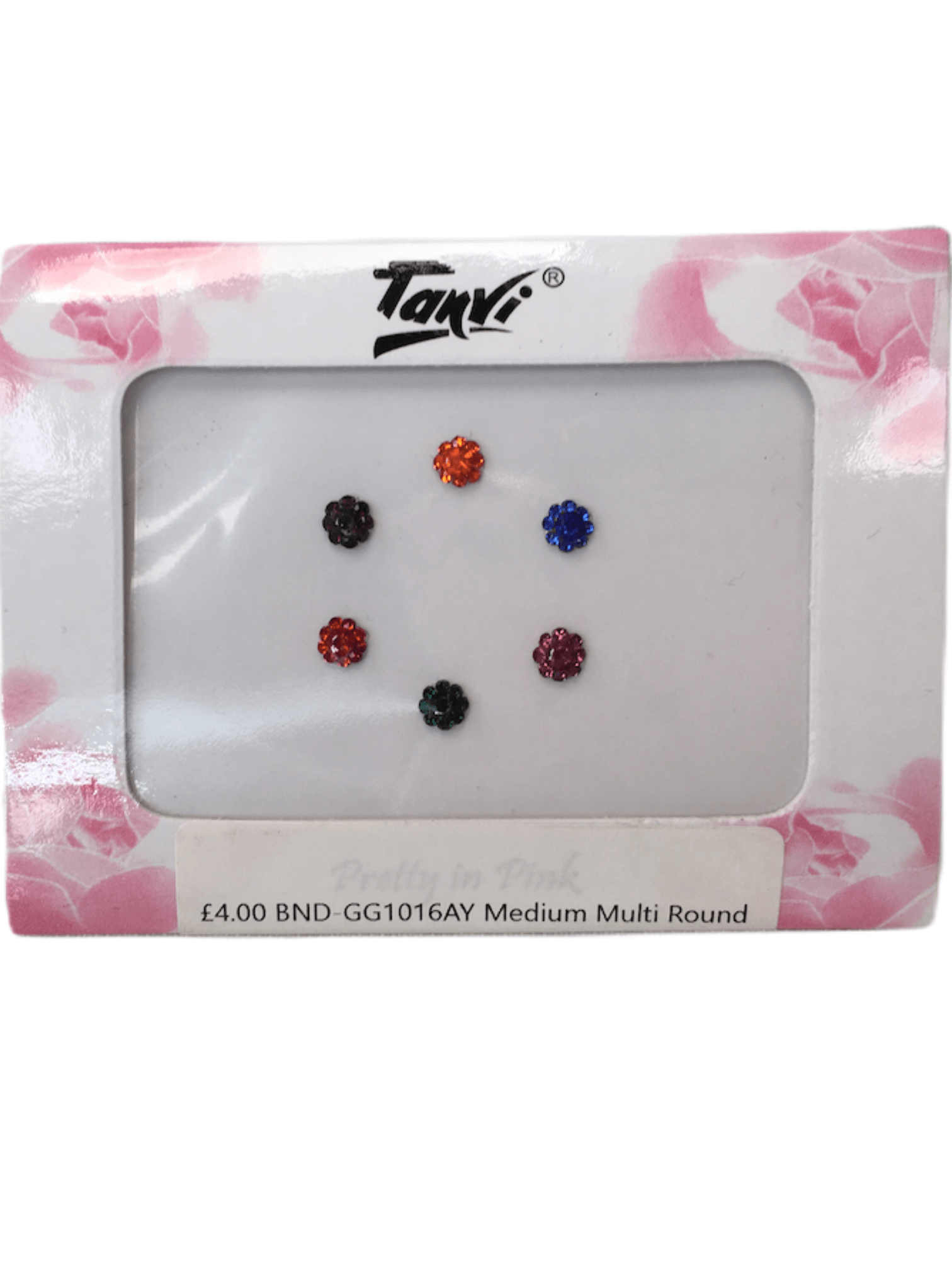 Pack of 6 round Coloured stone Bindi GG1016 - Prachy Creations