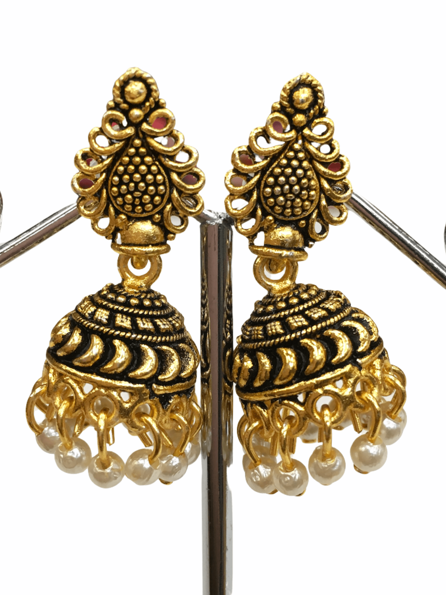 Antique Gold finish Zhumki Style earrings - SHR2003 Ap0320 - Prachy Creations