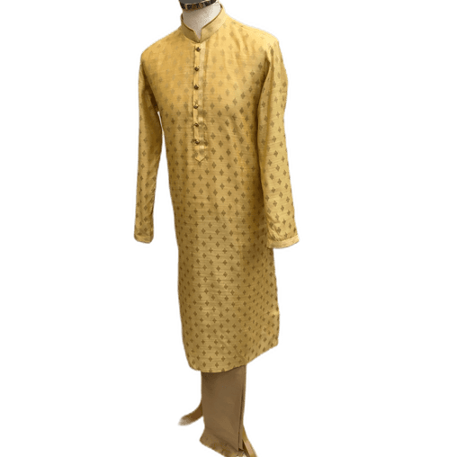 Mens Indian Kurta set in Cream / Gold, for weddings, Bollywood Party ( with Draw stringed trousers) - Innova VY1219 - Prachy Creations