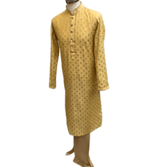 Mens Indian Kurta set in Cream / Gold, for weddings, Bollywood Party ( with Draw stringed trousers) - Innova VY1219