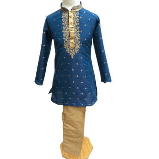 Boys Blue Indian Churidar Set - Handloom Benarasi  -  Bollywood Party Weddings - CKB-VL1914 KT1209 - Prachy Creations