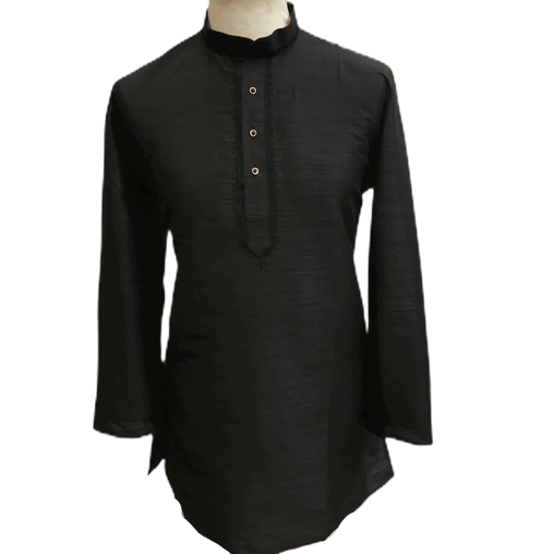Mens Indian Dhoti Kurta Top in Black, Thigh Length, for weddings, Bollywood Party  - Corsa Cp1219 - Prachy Creations