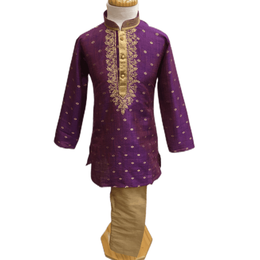 Boys Purple Indian Churidar Set - Handloom Benarasi  -  Bollywood Party Weddings - CKB-VL1913 KT1209 - Prachy Creations