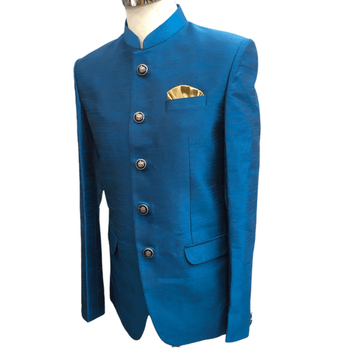 Delivery 48 hrs - Turquoise Blue Mens BandhGala / Nehru / Prince / Chinese Collar Jacket - Fantastic Fit - YD1931 TP1219 - Prachy Creations