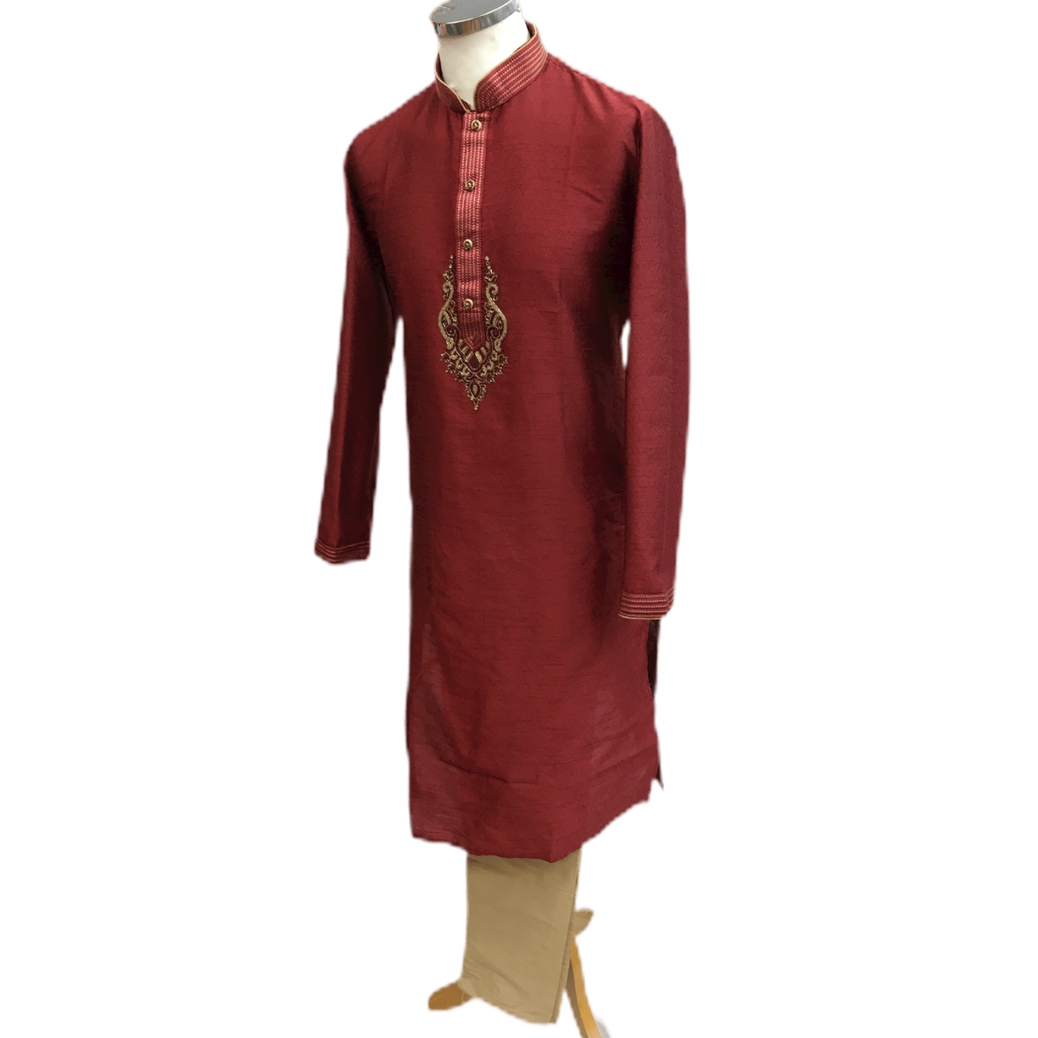 Mens Indian Kurta set in Maroon Burgundy, for weddings, Bollywood Party ( with Draw stringed trousers) - Innova VV0818 - Prachy Creations