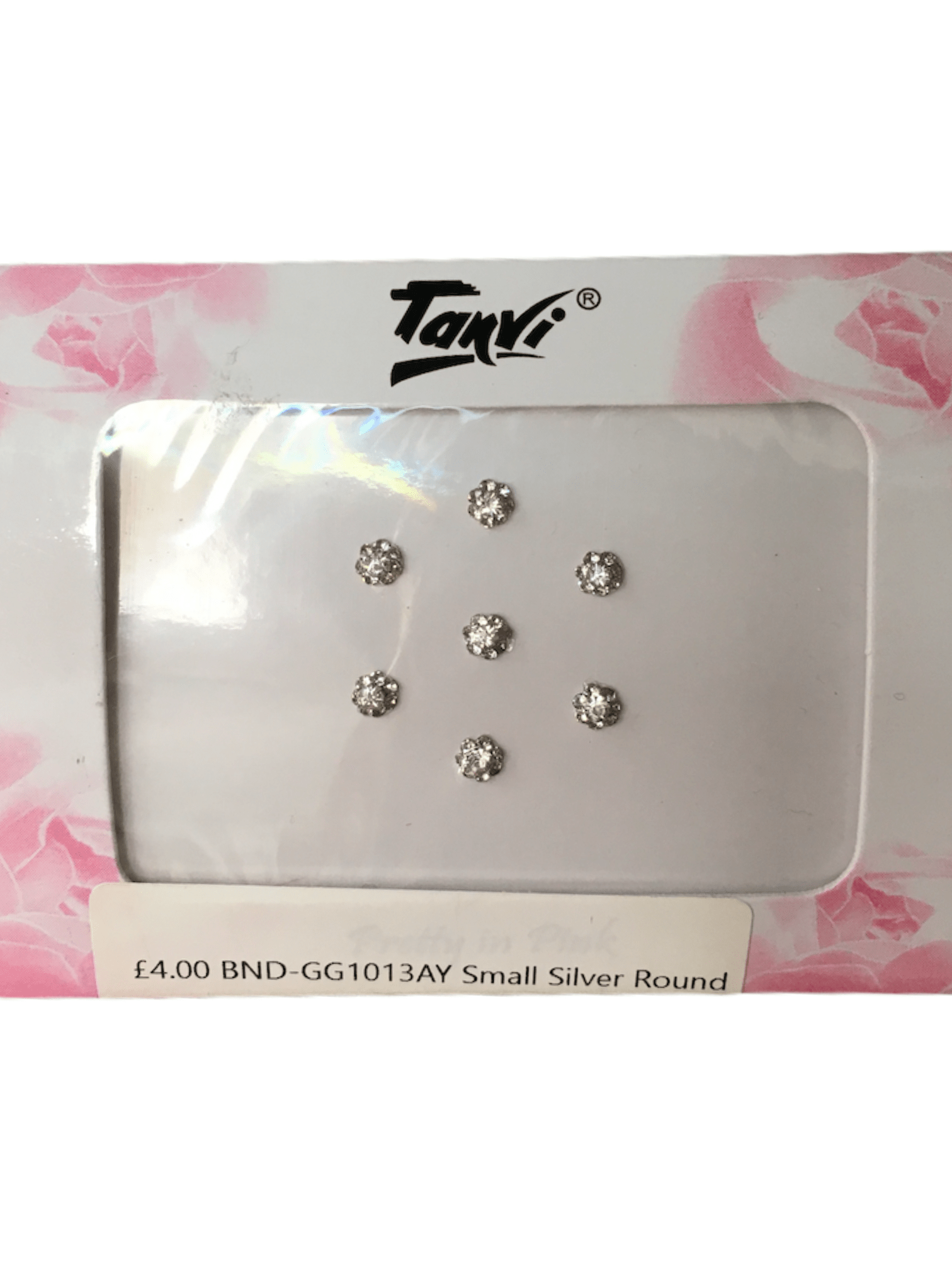 Pack of 7 round Silver stone Bindi gg1013 - Prachy Creations