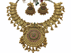 Traditional Indian antique finish Necklace and earrings set AANR024 VT1117 - Prachy Creations
