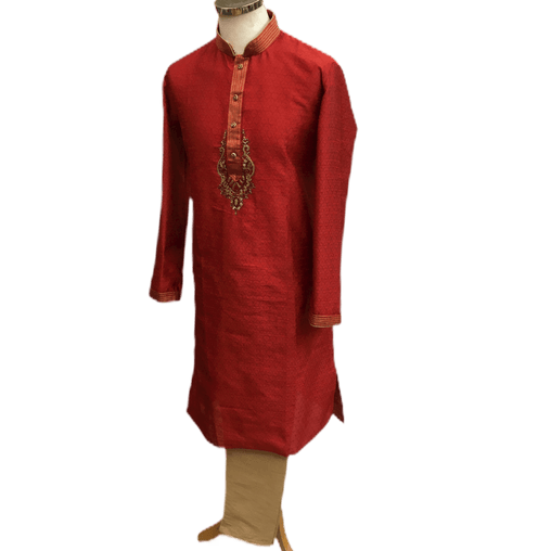 Mens Indian Kurta set in Red, for weddings, Bollywood Party ( with Draw stringed trousers) - Innova VV1219