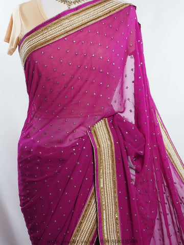 A classy simple saree with pearl border - Bollywood , Wedding - MSP 3529 - Prachy Creations