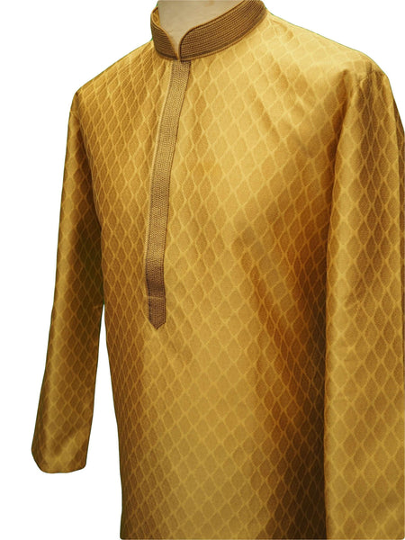 Benarasi Brocade Mens Kurta set - Gold - Bollywood, Weddings, Fancy Dress - SNC8663TY 1018