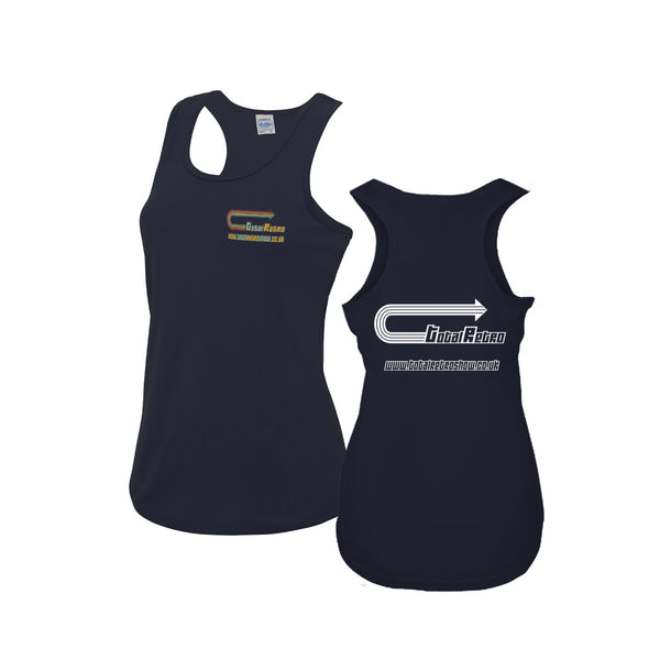 Total Retro Ladies Vest Top With Embroidery And Back Print