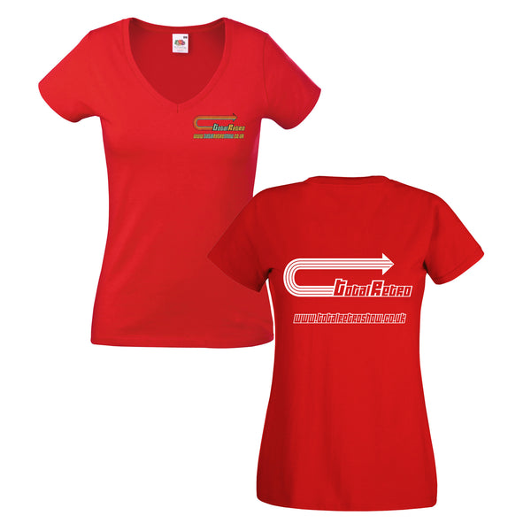 Total Retro Ladies V-neck T-shirt With Embroidery And Back Print