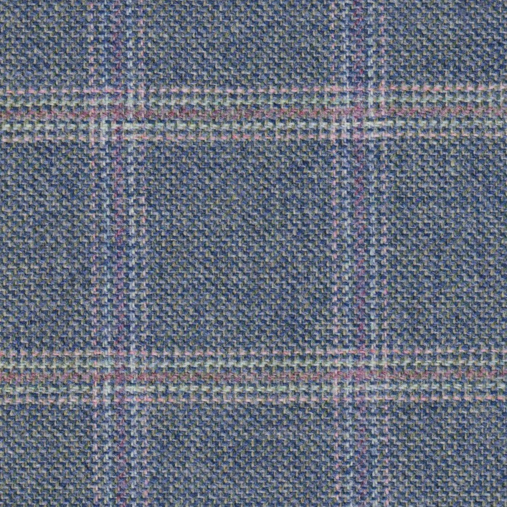 Blue & Grey with Pink & Purple Check Tweed