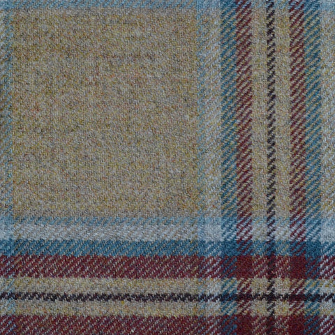 Beige, Blue & Wine Multi Check Tweed