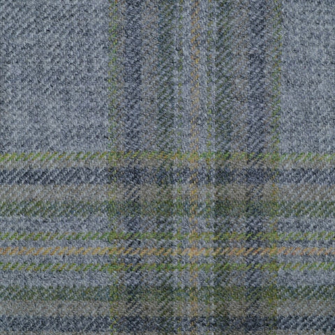 Light Grey with Green & Dark Grey Multi Check Tweed