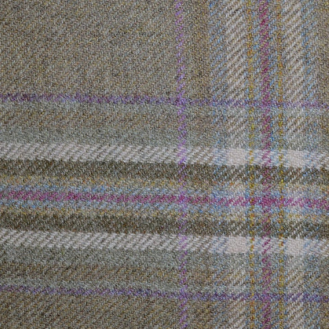 Beige, Purple & Pink Multi Check Tweed