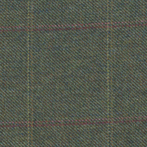 Green with Pink, Red & Yellow Check Tweed