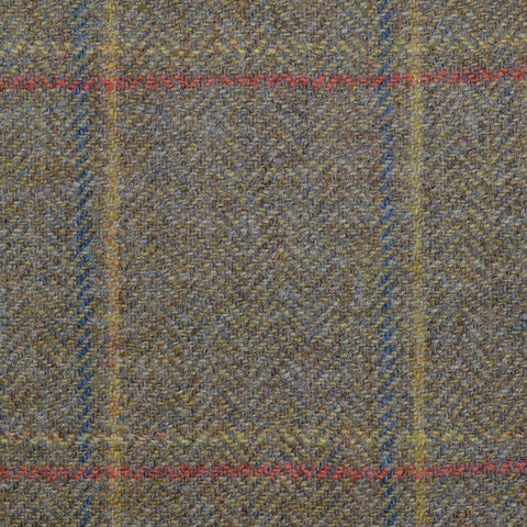 Moss Green Herringbone with Blue, Mustard and Orange Check Tweed