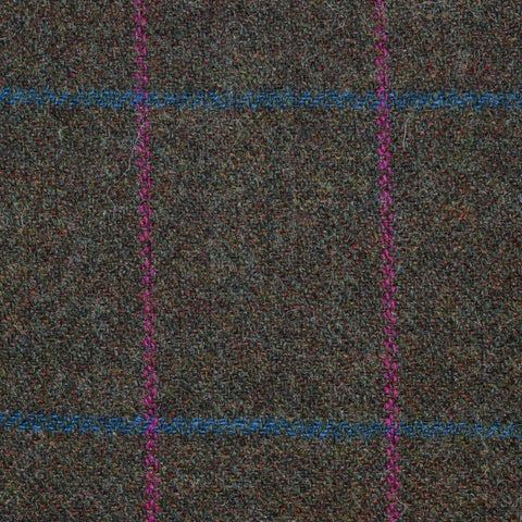 Brown Herringbone with Pink and Blue Check Tweed