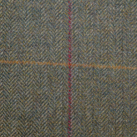 Green Herringbone with Red and Mustard Overcheck Tweed