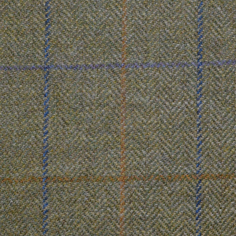 Green Herringbone with Purple, Blue, Mustard and Brown Multi Check Tweed