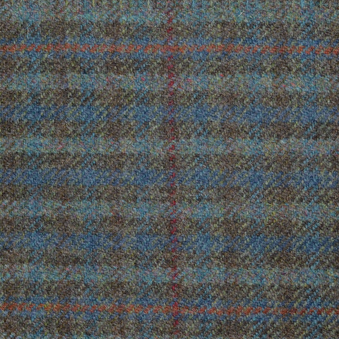 Brown and Teal Herringbone with Red, Blue Multi Check Tweed