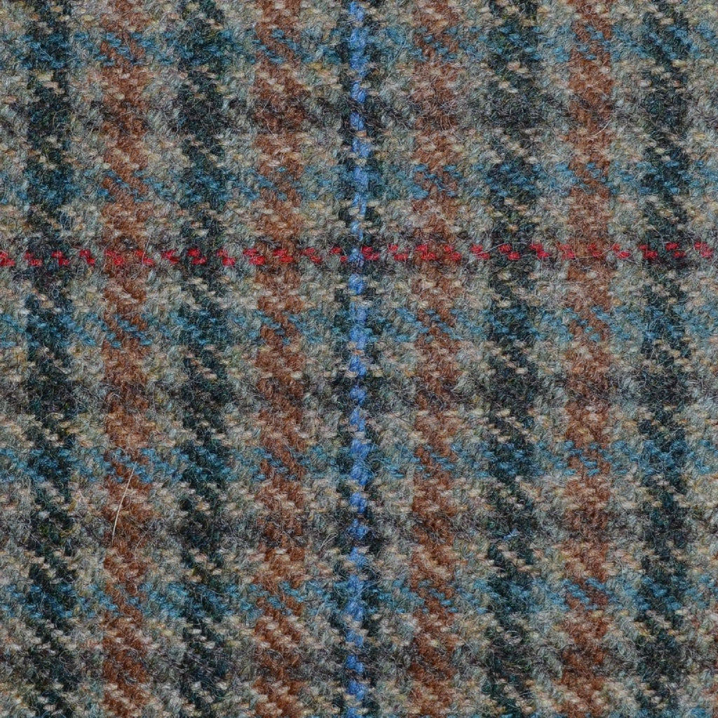 Beige and Brown with Blue, Green and Red Check Tweed