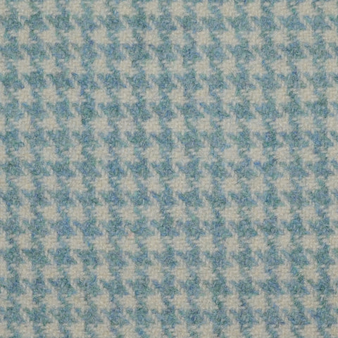 Light Blue Dogtooth Check Wool Tweed