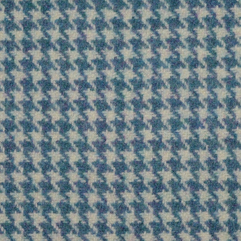 Denim Blue Dogtooth Check Wool Tweed