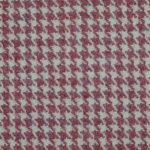 Pink Dogtooth Check Wool Tweed