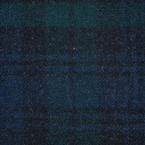 Navy, Black and Green Black Watch Weathered Tartan Check Tweed