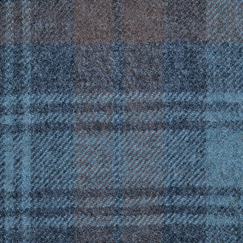 Blue and Brown Black Watch Weathered Tartan Check Tweed