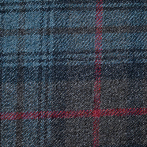 Blue, Brown and Red Stewart Hunting Weathered Tartan Check Tweed
