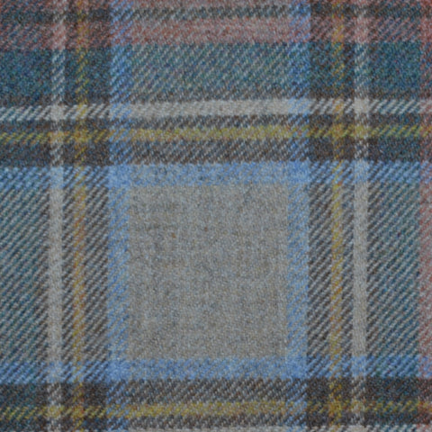 Beige, Blue and Brown Stewart Royal Weathered Tartan Check Tweed