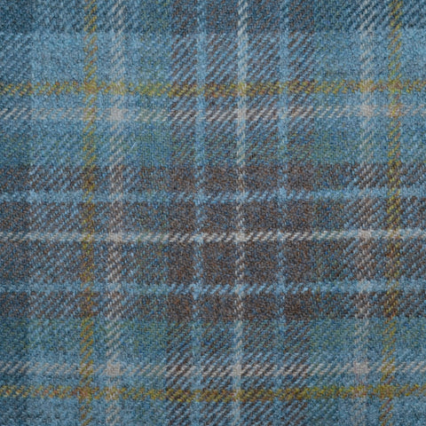 Light Blue, Navy Blue and Brown Holyrood Weathered Tartan Check Tweed