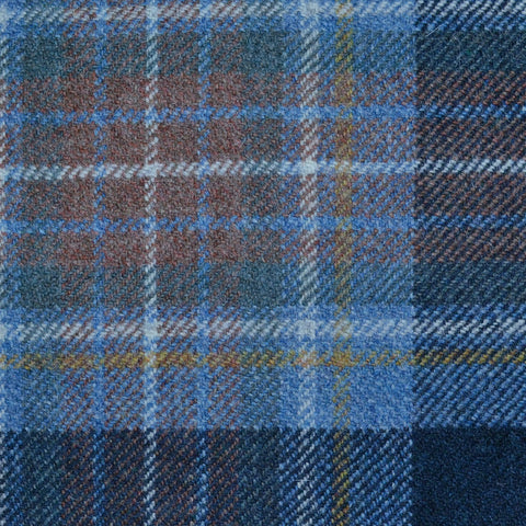 Light Blue, Brown and Navy Blue Holyrood Weathered Tartan Check Tweed