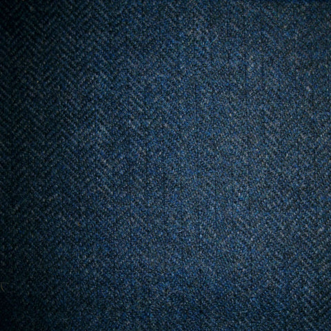 Navy Blue & Petrol Herringbone Tweed