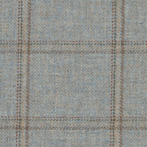 Blue & Grey with Brown, Red & Yellow Check Tweed