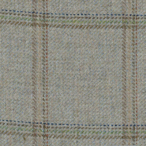 Green & Grey with Blue, Green, Brown & Red Check Tweed