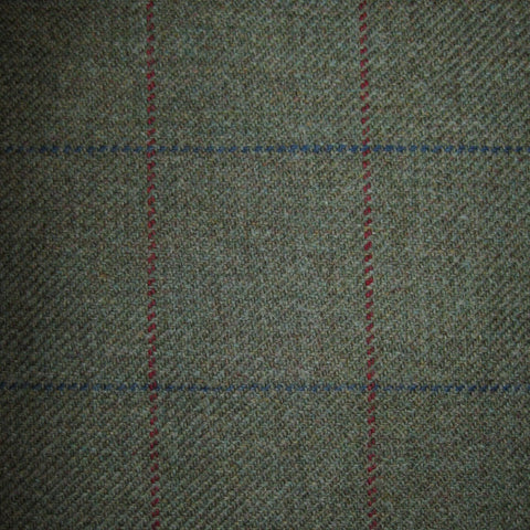 Moss Green with Blue & Red Check Tweed
