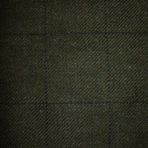 Moss Green with Blue Check Tweed