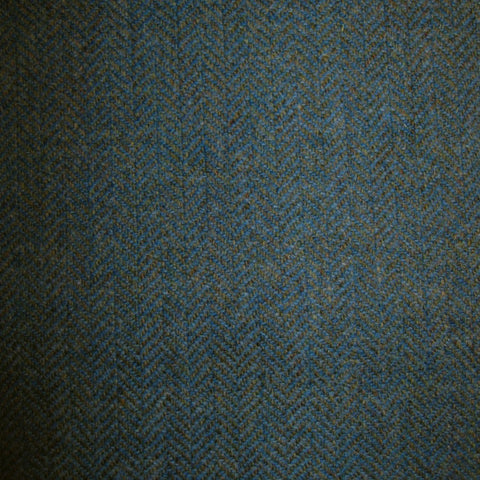 Moss Green with Medium Blue Herringbone Tweed