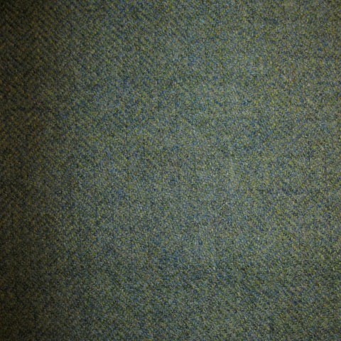 Moss Green, Blue & Brown Herringbone Tweed