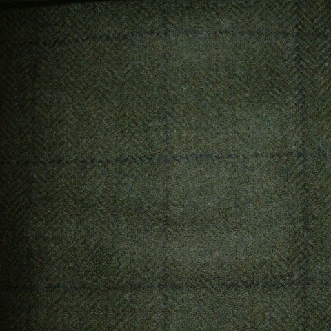 Moss Green with Navy Blue Check Tweed