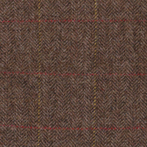 Medium Brown Herringbone with Red & Yellow Check Tweed