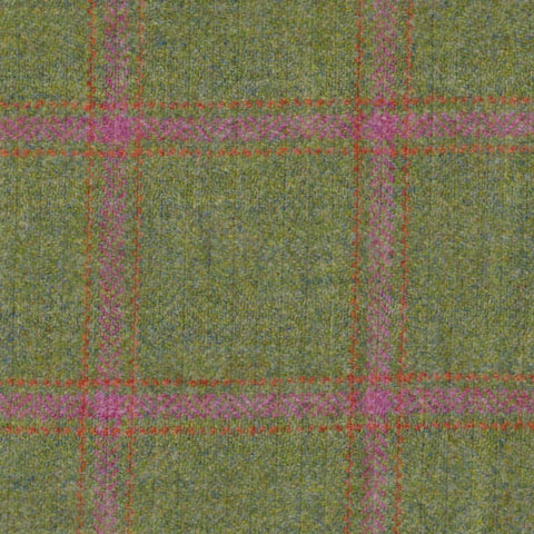 Green Herringbone with Pink & Orange Check Tweed